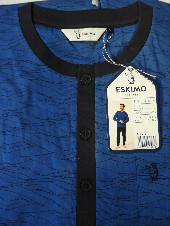 Eskimo Heren pyjama: Harry ronde hals Blauw ( 100% katoen )