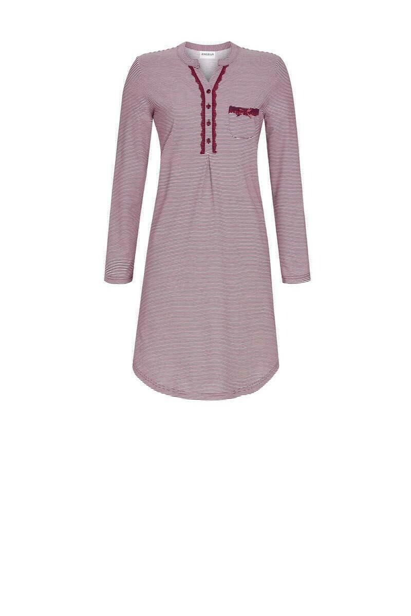 Ringella Dames nachthemd: Bordeau gestreept 100% Katoen