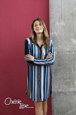 Ringella Dames nachthemd: Blauw gestreept, doorknoop 90cm