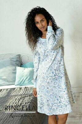Ringella Dames nachthemd: Blauw lengte 95cm