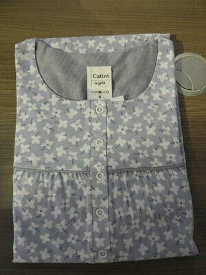 Catini Klassiek nachthemd lange mouw: lengte 115cm ( Blauw ) tot 4XL