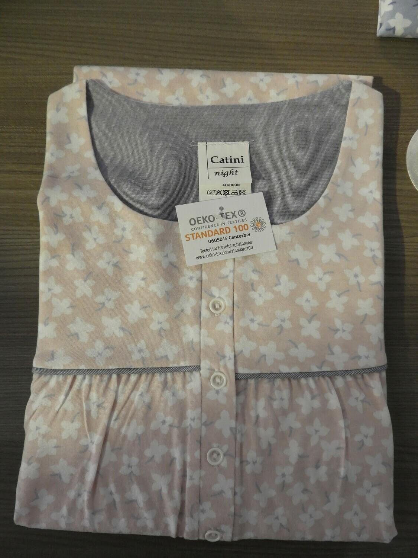Catini Klassiek nachthemd lange mouw: lengte 115cm ( Roze ) tot 4XL