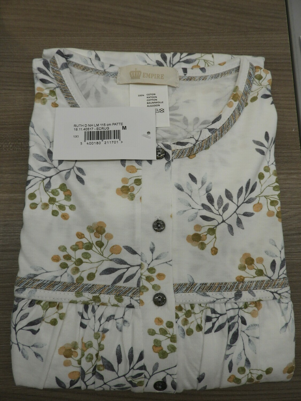 Eskimo Dames klassiek nachthemd met lange mouwen: Ruth 115cm met strop tot 4XL