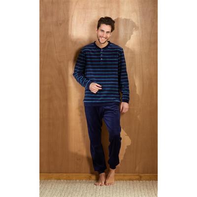 Eskimo Heren Pyjama blauw gestreept velours