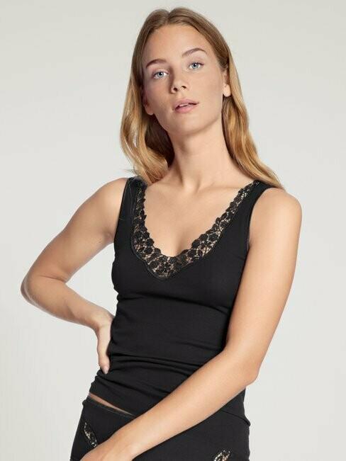 Calida Dames onderhemd met kant, Wit of Zwart: