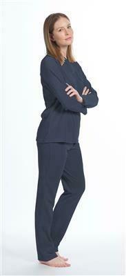 Eskimo Dames pyjama: Sarina ( Donkerblauw ) Velours