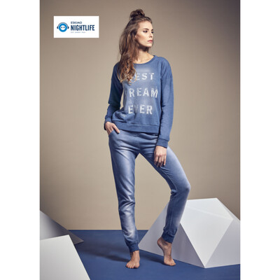 Eskimo Nightlife: damespyjama's blauw Jeanskleur
