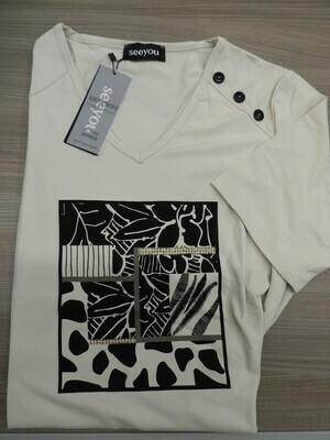 See You T shirt: Beige V hals ( tot maat 52 )