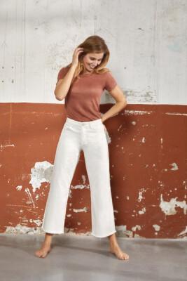 Para Mi Damesbroek: Kim ( Wijd ) Color Denim Off White