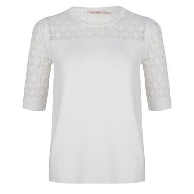 Esqualo Off White Tshirt ( gebreid )