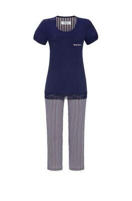 Ringella Dames Pyjama: Blauw T -shirt met 7 /8 broek