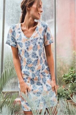 Signe Nature Linnen kleedje: Ecru / blauw / orangje