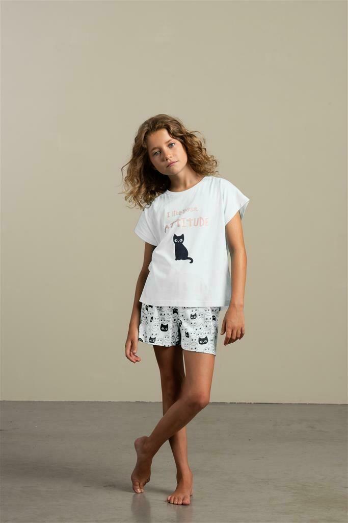 Eskimo Meisjes Pyjama: Cattitude ( 10 - 16jaar )