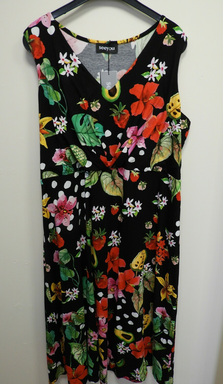 See You fris zomerkleed mouwloos: Zwart geprint tot maat 52