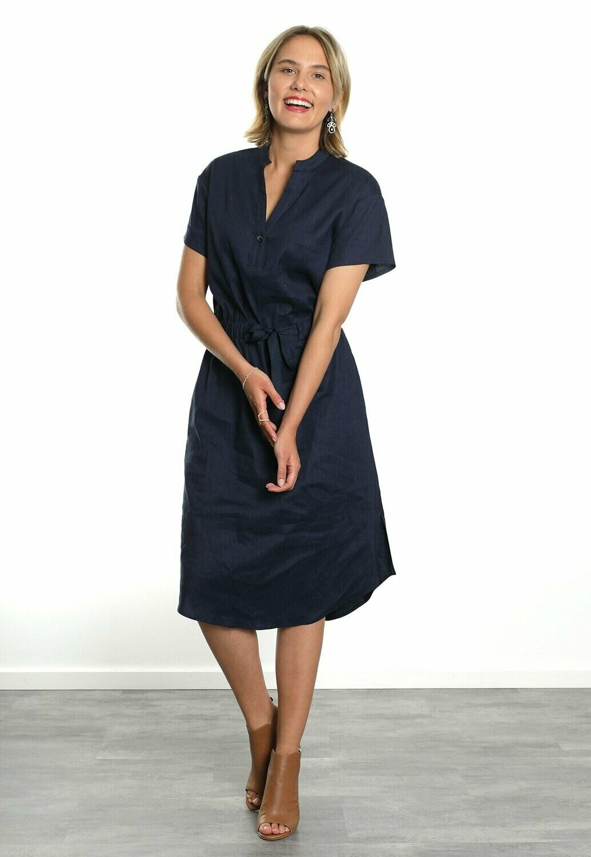 Bluebeery Linnen kleed: Donker blauw