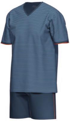 Ammann Herenpyjama: Blauw, Extra fine cotton