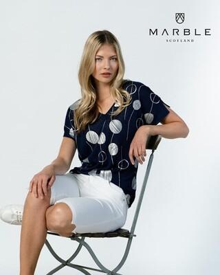 Marble T-shirt: fijn gebreid ( Blauw )