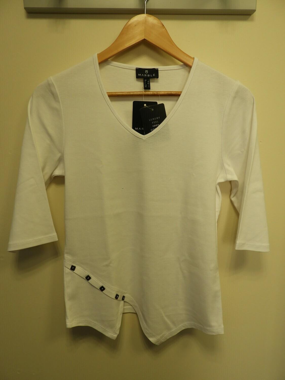 Marble T-shirt: Wit 100% Katoen