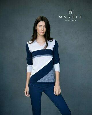 Marble gebreide pull: Blauw / ecru ( 100% Katoen )