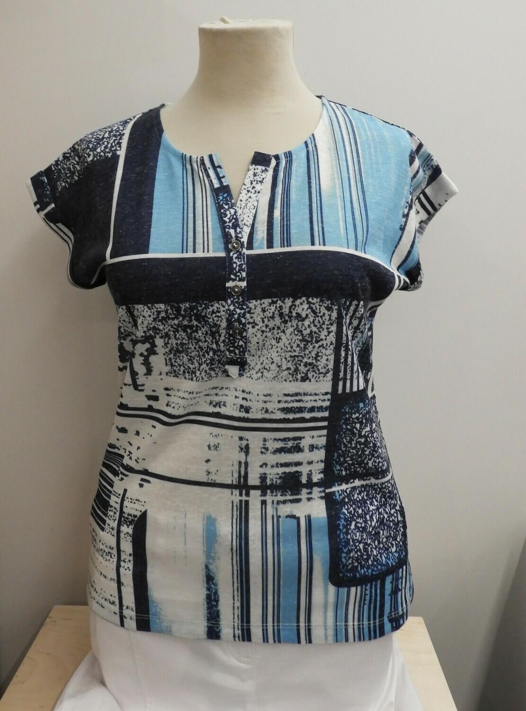 Femme T-shirt: Blauw / Wit
