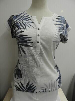 Femme T-shirt: Wit / blauw
