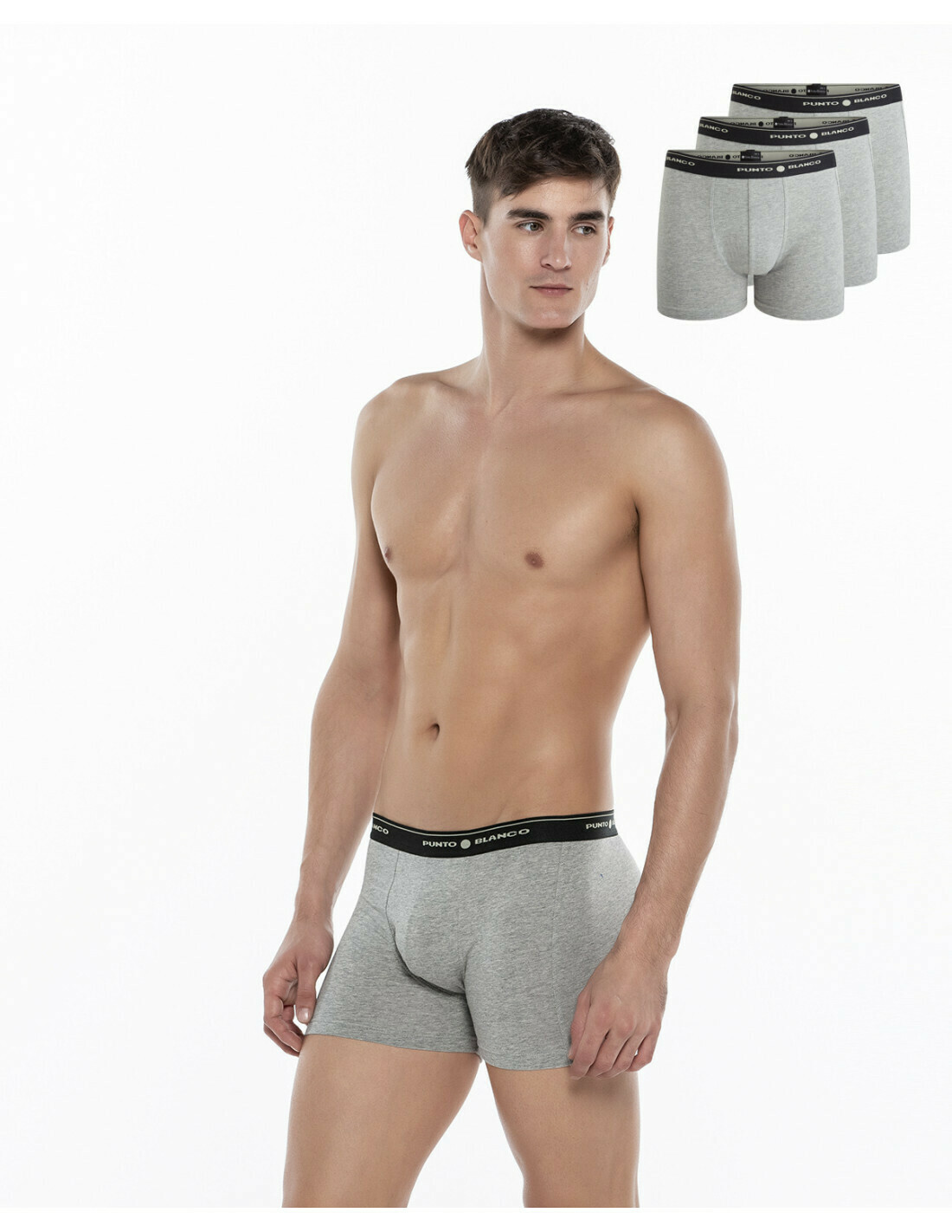 Punto Blanco Boxershort Heren: Grijs ( per 3 verpakt )