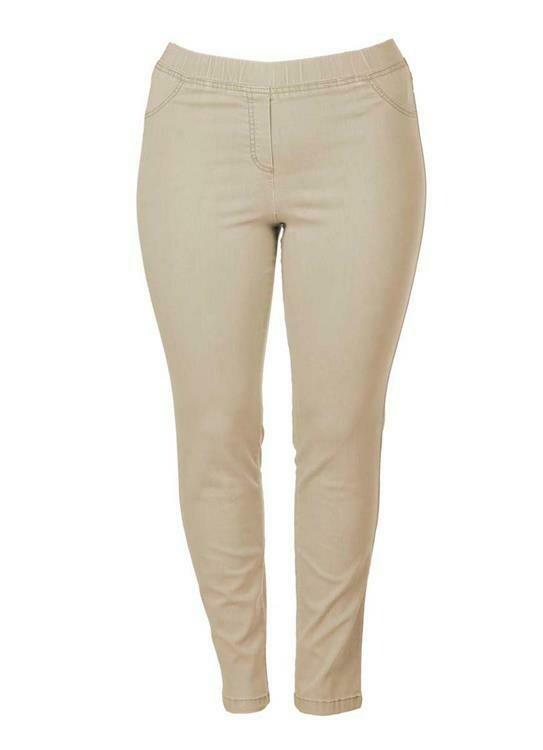 KJ Brand Beige Jeans broek: Jenny ( volledig op elastiek ) Super Stretch