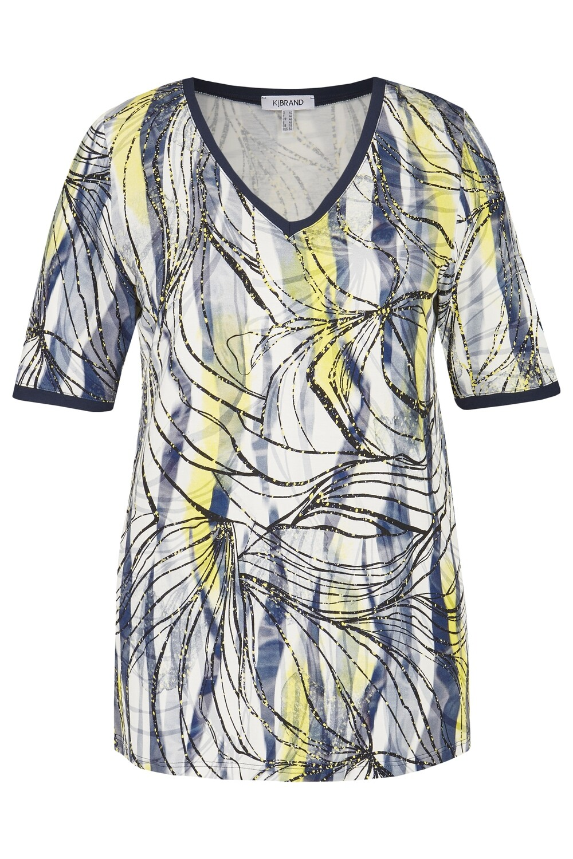 KJ Brand T-shirt: Blauw geprint tot maat 54