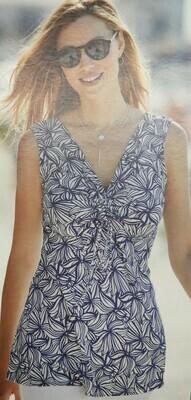 Janira Top: Blauw / wit Liliums