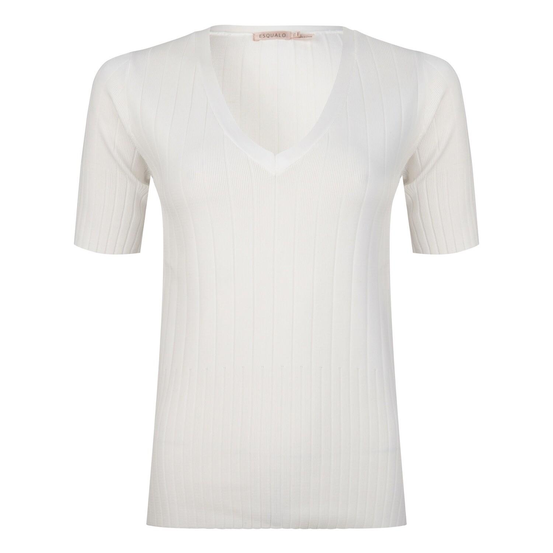 Esqualo Licht gebreid t-shirt: Off White