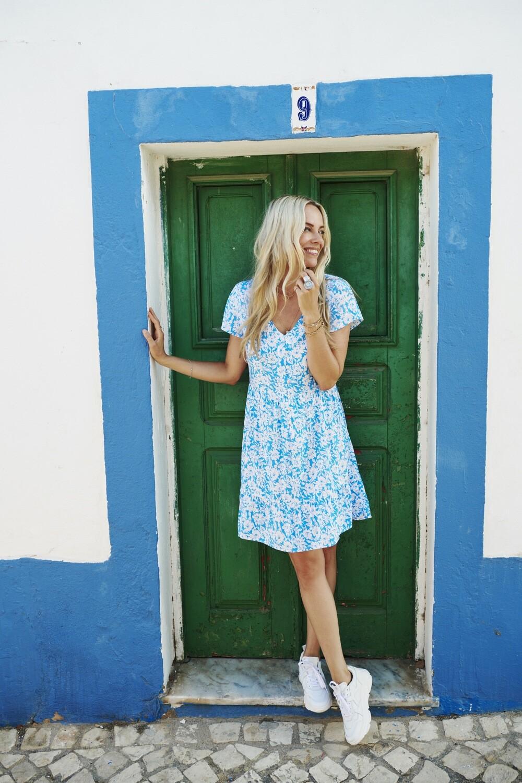 Esqualo Zomers licht kleed: Blauw / wit