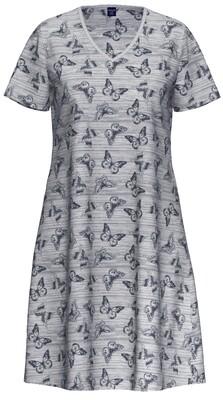 Ammann Nachthemd: Jeans kleur met vlindermotief ( Katoen / Modal )