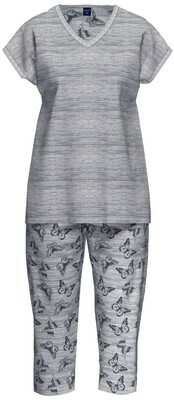 Ammann Dames Pyjama: Jeans kleur met vlindermotief ( Katoen / Modal )