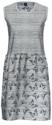 Ammann Nachthemd: Jeans kleur met vlindermotief ( Katoen / Modal ), Mouwloos met voile