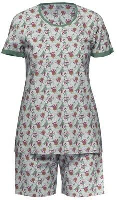 Ammann Dames Pyjama: Groen geprint met korte mouw / short