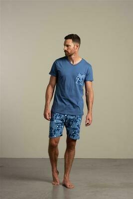 Eskimo Heren Pyjama: Elroy V hals, effen shirt