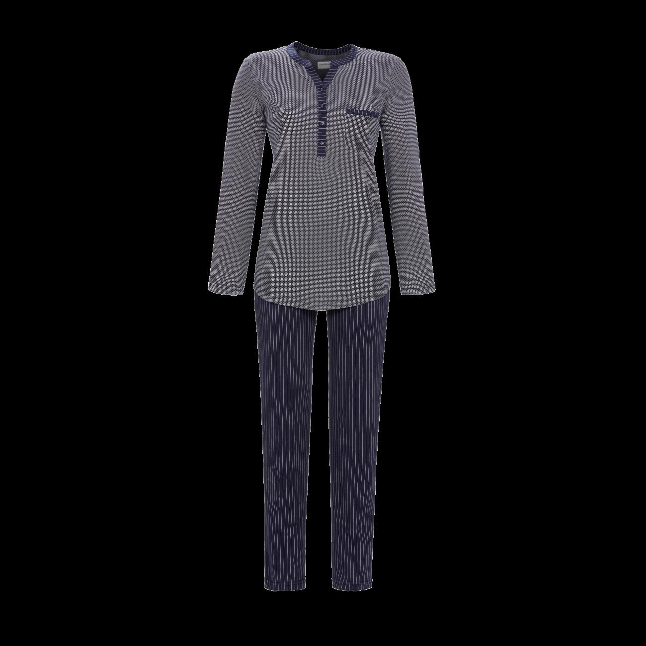 Ringella Dames Pyjama: Donkerblauw, pat en knopen ( tot maat 54 )