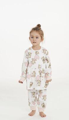 Happy People Meisjes Pyjama: 100% Katoen ( beertjes )
