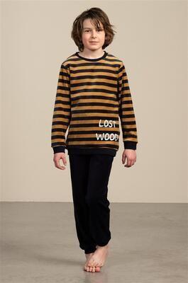 Eskimo Jongens Pyjama: Peeta, Velours Marine / mosterd gestreept