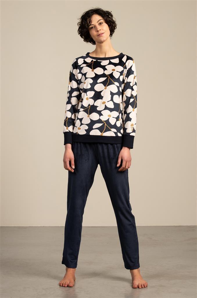 Eskimo Dames Pyjama / Homewear: Feline, velours, blauw