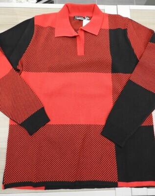 Kris Fashion Dames Polo pull: Rood / zwart