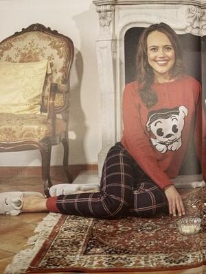 Fida Dames pyjama: Rood / carree broek ( Hond )