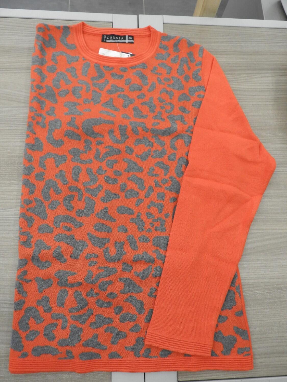 Kris Fashion Pull: Oranje / grijs, tot maat 50