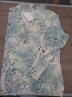 Kris Fashion Polo Pull: bedrukt groen / ecru