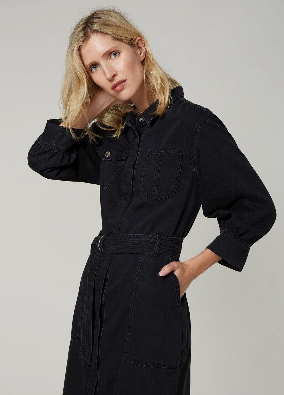 Summum Blue Daze Jeans kleed; Zwart, Ash Denim