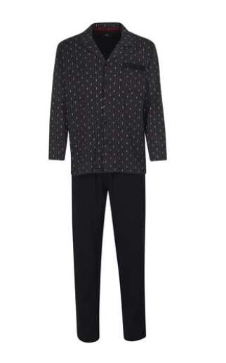 Götzburg Heren pyjama: Doorknoop, bedrukt, lange broek, tot 3XL
