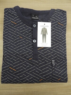 Ammann Heren Pyjama: Lange mouw, Blauw