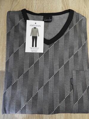 Ammann Heren Pyjama: Grijs / Zwart, V hals 100% Katoen
