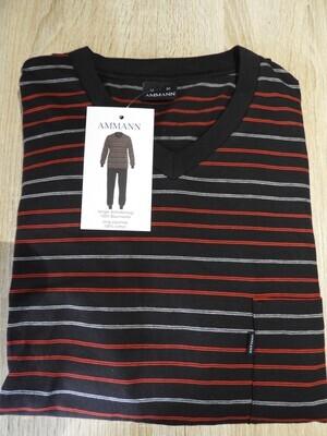 Ammann Heren Pyjama: Antraciet / rood, V hals tot 3XL