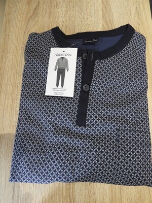 Ammann Heren Pyjama: Blauw gedrukt, ronde hals tot 3XL